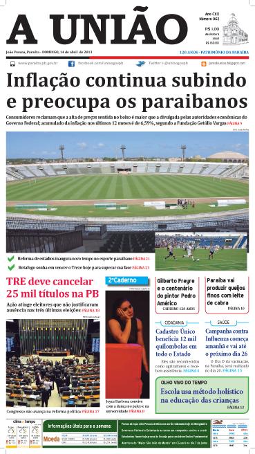 Capa A União 14 04 13 - Jornal A UNIÃO