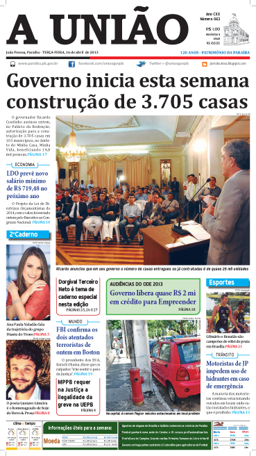 Capa A União 16 04 13 - Jornal A União