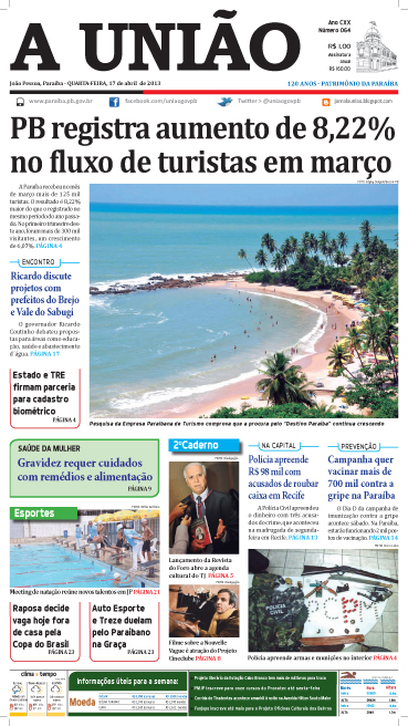 Capa A União 17 04 13 - Jornal A União