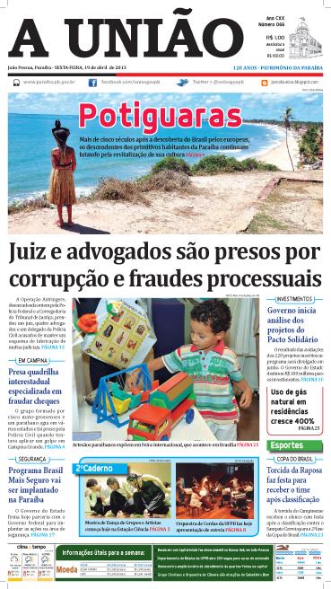 Capa A União 19 04 13 - Jornal A União