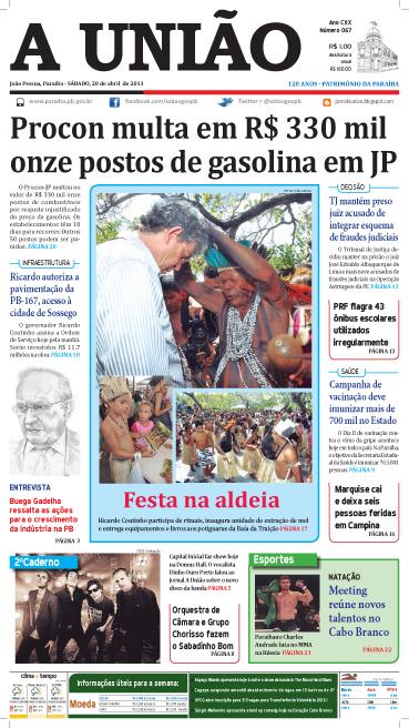 Capa A União 20 04 13 - Jornal A União