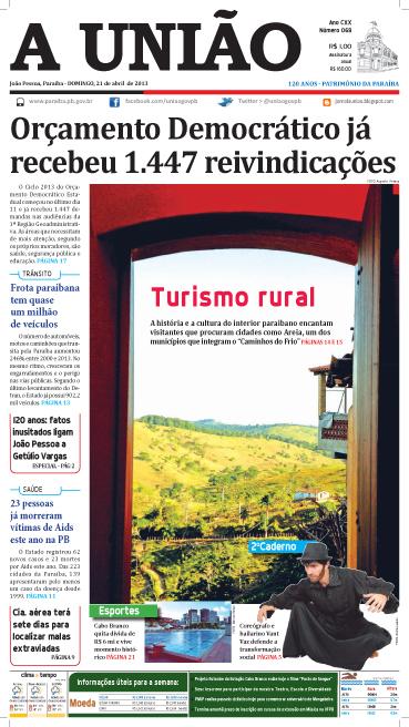 Capa A União 21 04 13 - Jornal A União