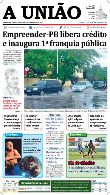 Capa A União 25 04 13 - Jornal A União