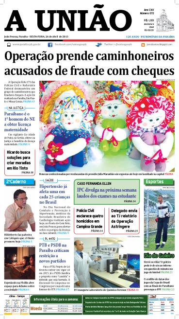 Capa A União 26 04 13 - Jornal A União