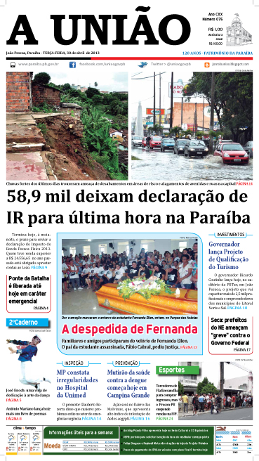 Capa A União 30 04 13 - Jornal A UNIÃO