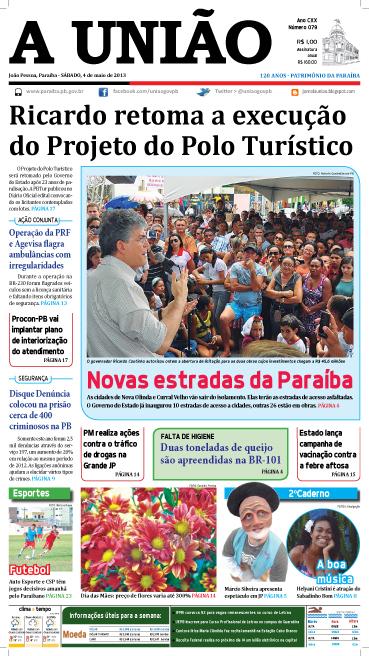 Capa A União 04 05 13 - Jornal A União