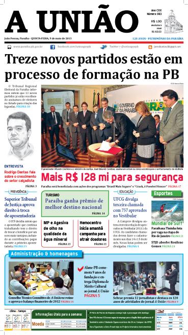 Capa A União 09 05 13 - Jornal A União
