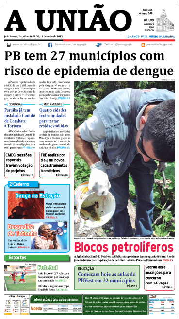 Capa A União 11 05 13 - Jornal A União
