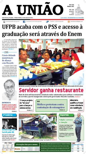 Capa A União 14 05 13 - Jornal A União