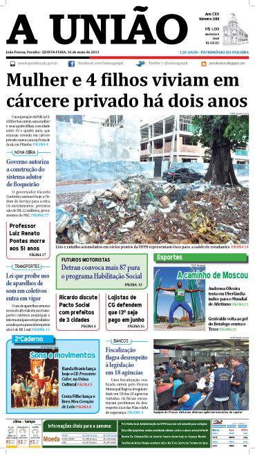 Capa A União 16 05 13 - Jornal A União