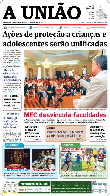 Capa A União 21 05 13 - Jornal A União