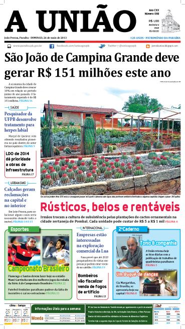 Capa A União 26 05 13 - Jornal A União