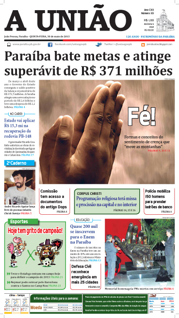 Capa A União 30 05 13 - Jornal A União