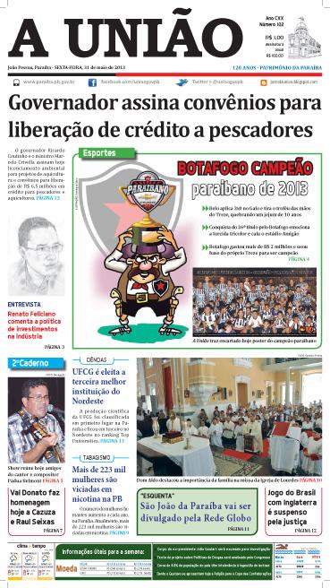 Capa A União 31 05 13 - Jornal A União