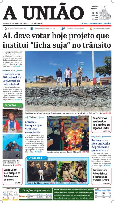 Capa A União 11 06 13 - Jornal A União