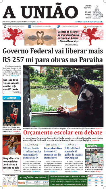 Capa A União 12 06 13 - Jornal A União