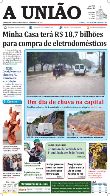 Capa A União 13 06 13 - Jornal A União