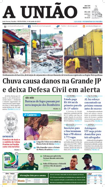Capa A União 14 06 13 - Jornal A União