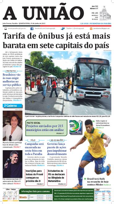 Capa A União 19 06 13 - Jornal A União