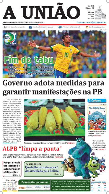 Capa A União 20 06 13 - Jornal A União