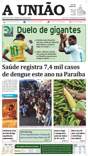 Capa A União 22 06 13 - Jornal A União