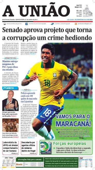 Capa A União 27 06 13 - Jornal A União