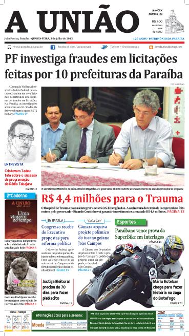 Capa A União 03 07 13 - Jornal A União