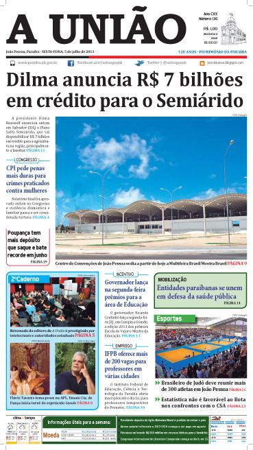 Capa A União 05 07 13 - Jornal A União