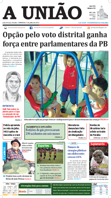 Capa A União 07 07 13 - Jornal A União