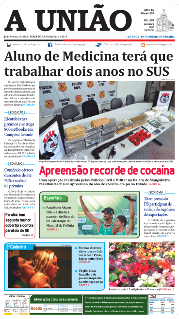 Capa A União 09 07 13 1 - Jornal A União