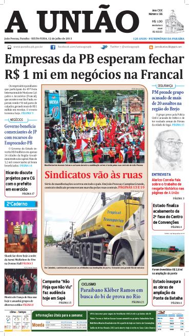 Capa A União 12 07 13 - Jornal A União