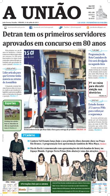 Capa A União 13 07 13 - Jornal A União