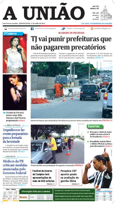Capa A União 17 07 13 - Jornal A União