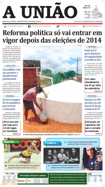 Capa A União 18 07 13 - Jornal  A União