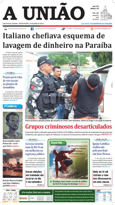 Capa A União 19 07 13 - Jornal A União