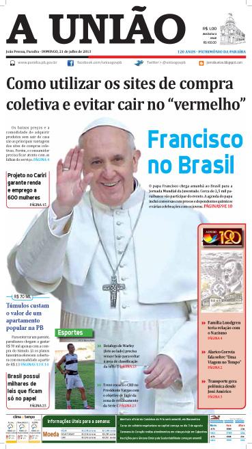 Capa A União 21 07 13 - Jornal A União
