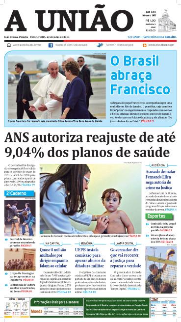 Capa A União 23 07 13 - Jornal A União