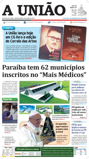 Capa A União 25 07 13 - Jornal A União