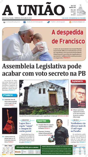 Capa A União 28 07 13 - Jornal A União