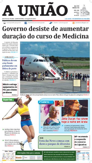 Capa A União 01 08 13 - Jornal A União