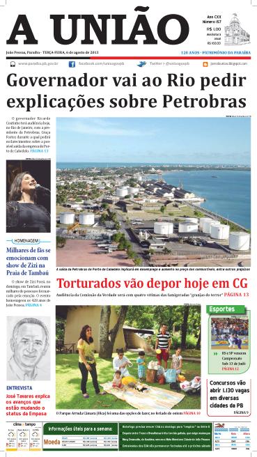 Capa A União 06 08 13 - Jornal A União