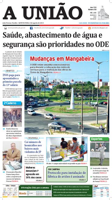Capa A União 08 08 13 - Jornal A União