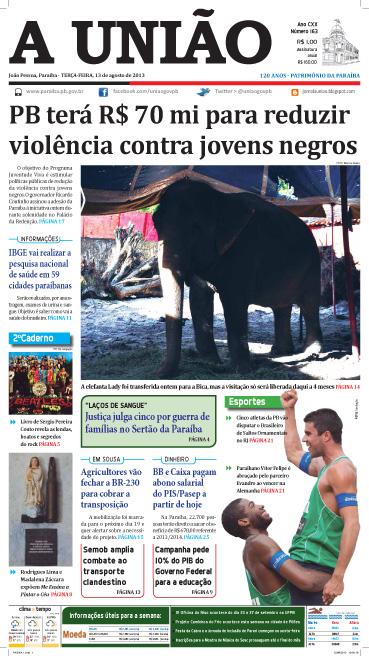 Capa A União 13 08 13 - Jornal A União