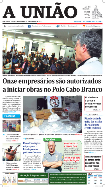 Capa A União 14 08 13 - Jornal A União