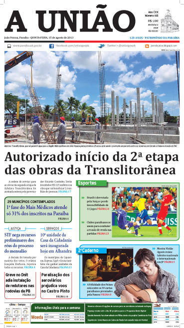 Capa A União 15 08 13 - Jornal A União