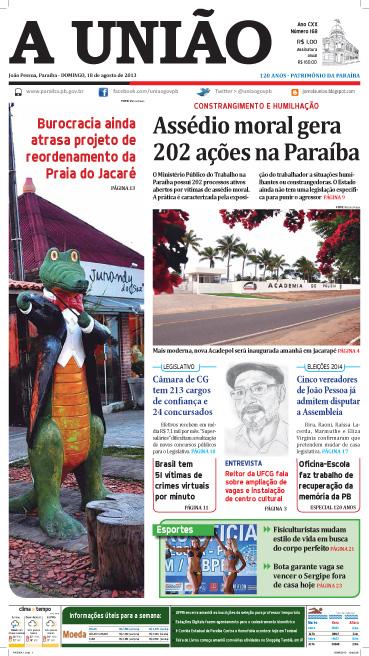 Capa A União 18 08 13 - Jornal A União