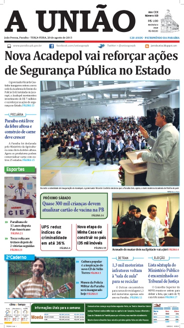 Capa A União 20 08 13 - Jornal A União