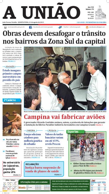 Capa A União 21 08 13 - Jornal A União