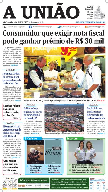 Capa A União 22 08 13 - Jornal A União