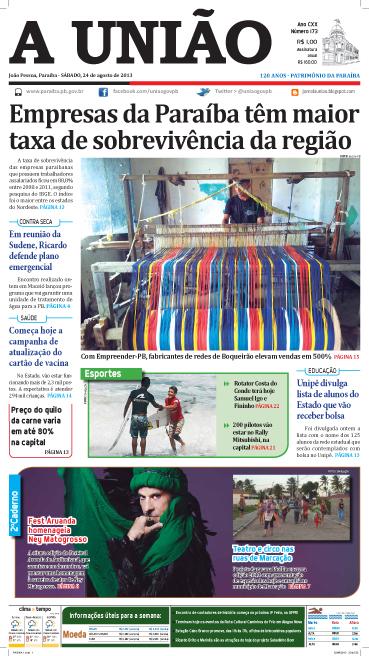 Capa A União 24 08 13 - Jornal A União